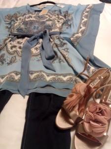 Michael Kors top, Sevens jeans, nude Badgley Mischka Randee heels