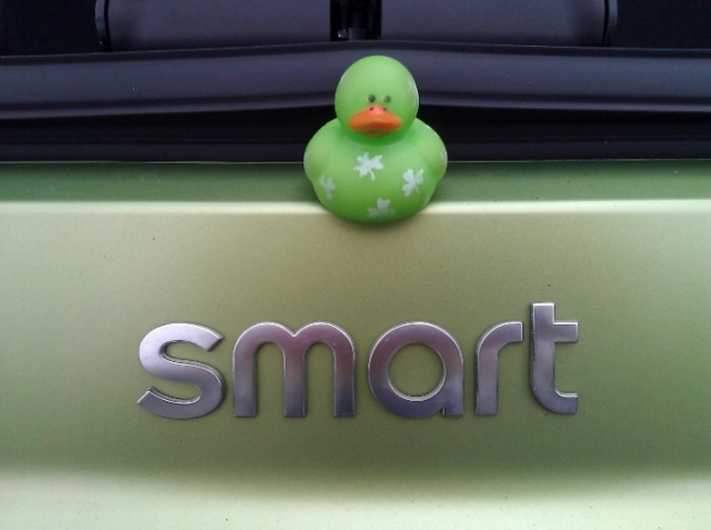 Lucky Duck drives a Smart car