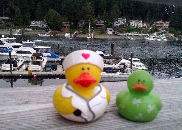 Lucky Duck and the nurse at Green Turtle in Gig Harbor