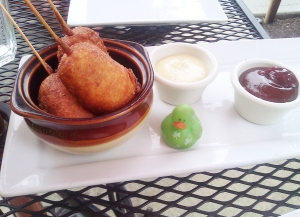 Mini corn dogs at LunchBox Laboratory