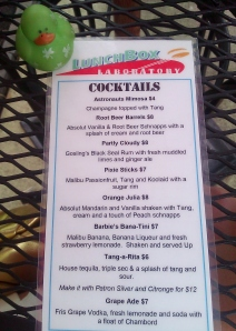 The cocktail menu at LunchBox Laboratory includes Tang