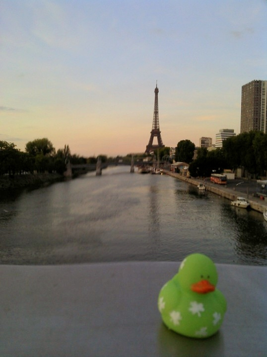 Lucky Duck's luck alike visits the Eiffel Tower