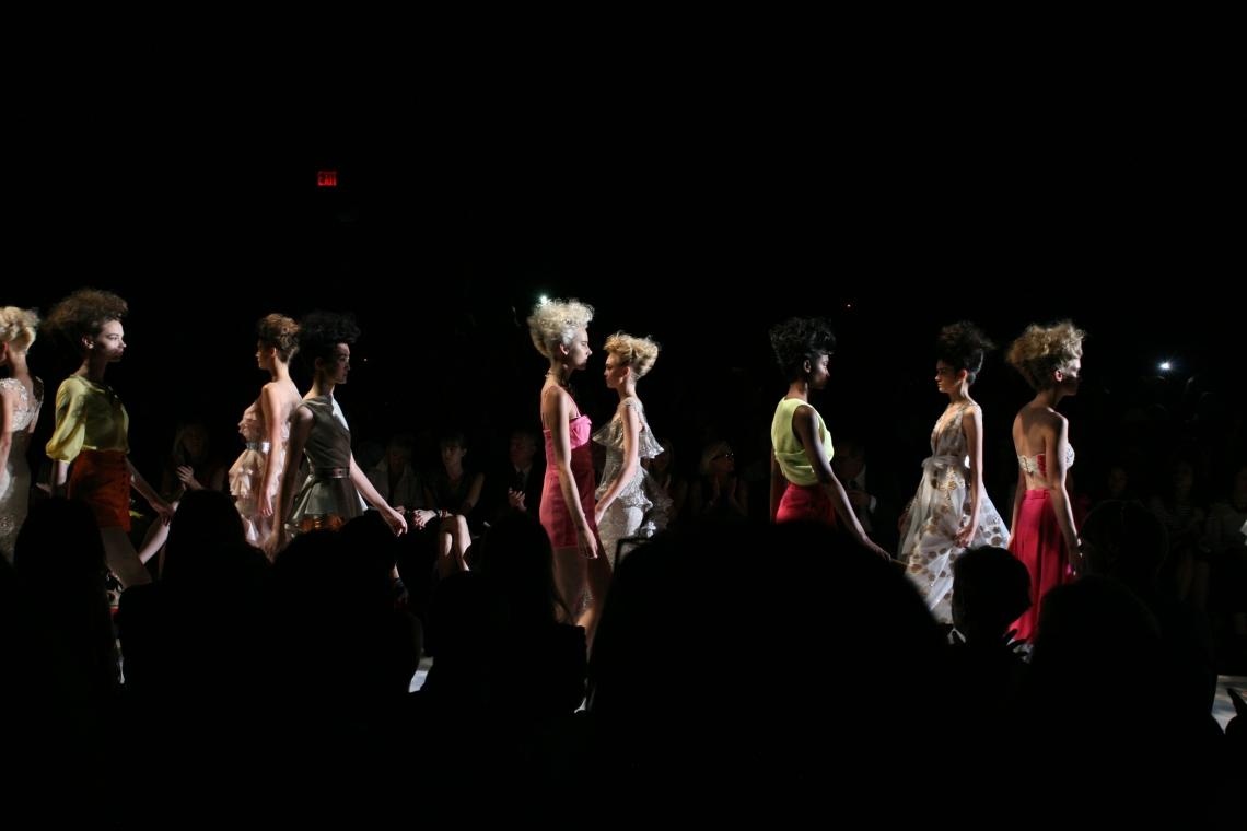 They walk the Badgley Mischka fashion show