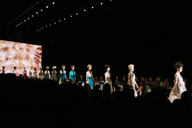 They walk the Badgley Mischka fashion show