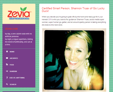 Shannon Truax on Zevia Blog
