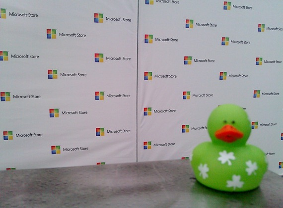 Lucky Duck attends the grand opening of the Microsoft Store in U Village