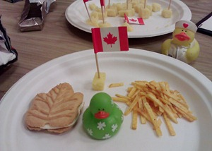 Lucky Duck eats Canadian Favourites snacks
