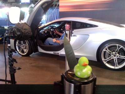The McLaren on display at a Microsoft event