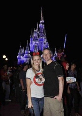 Mike and Shannon at the castle at night