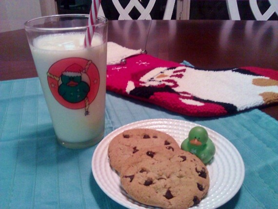 Lucky Duck leaves milk and cookies for Santa