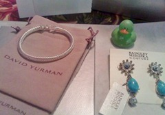 Badgley Mischka earrings and David Yurman bracelet