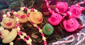 Mardi Gras beads with rubber ducks