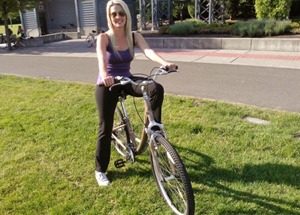 Bike riding on the Sammamish River Trail, in Lululemon