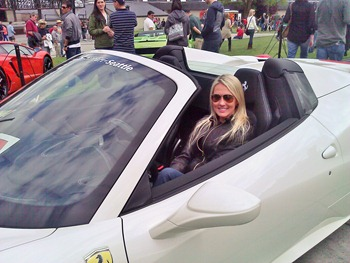 Shannon Harms in a Ferrari