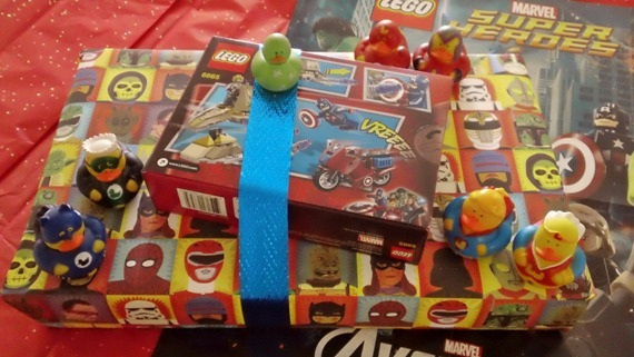 Superhero wrapping paper and Lego Avengers