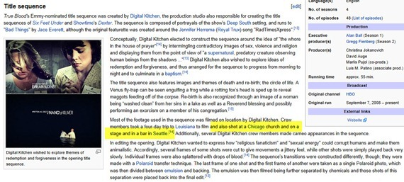 Wikipedia on True Blood Title Sequence