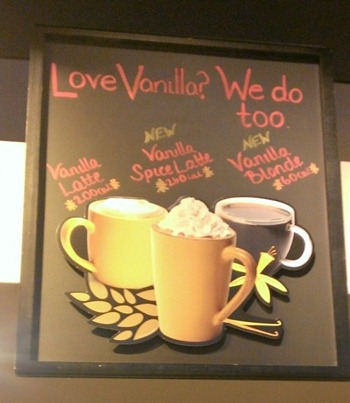 Starbucks Vanilla Spiced Latte sign