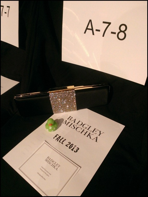 My seat at the Badgley Mischka Fall 2013 Collection