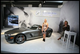 Shannon Harms and Mercedes SLS at Fashion Week