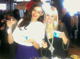 Shannon Harms and Nicole Trunfio eat Yoplait Greek 100 Yogurt