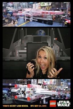 Inside the cockpit Lego X Wing in Times Square
