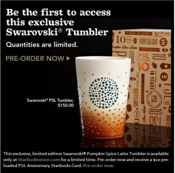 Starbucks Swarovski Crystal Pumpkin Spice Tumbler
