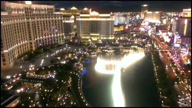 Night view of The Bellagio fountains from my balcony