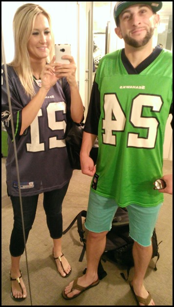 David and Shannon in Seahawks jerseys