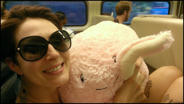 Kristen on the train