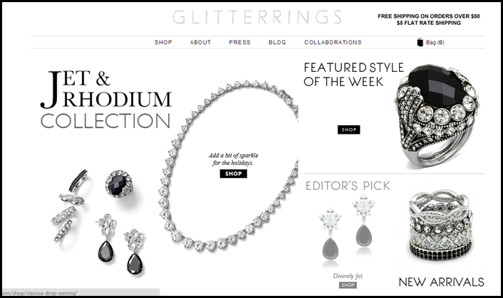GLITTERRINGS Jet and Rhodium Collection