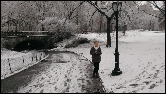 Katrina Stahl in Central Park in the snow