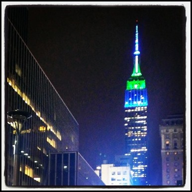 Empire State Building lit up to celebrate Seattle Seahawks