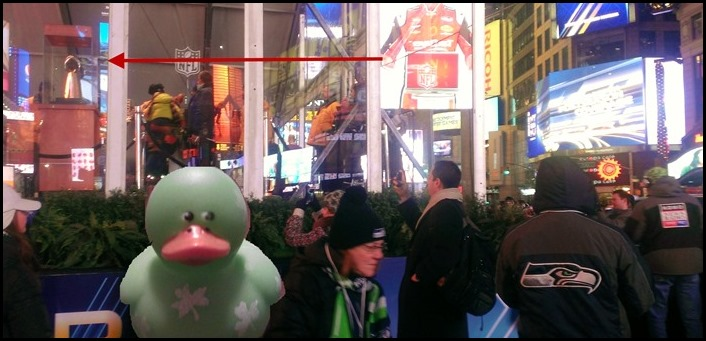 Seattle Seahawks fans admire the Vince Lombardi trophy in Times Square NYC