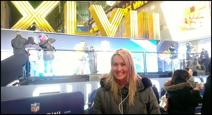 Shannon Truax at Super Bowl Boulevard