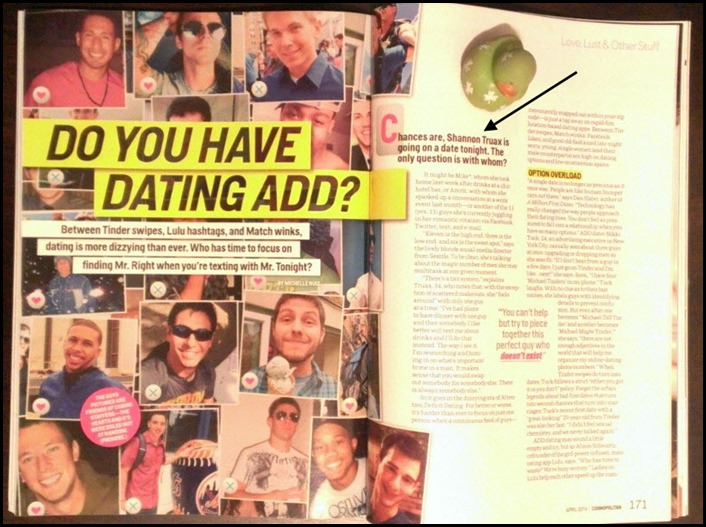 I'm in the April edition of Cosmo