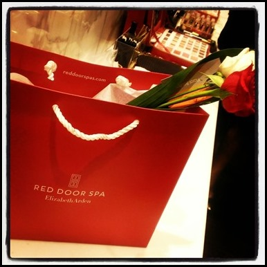 Gift bags from Red Door Spa