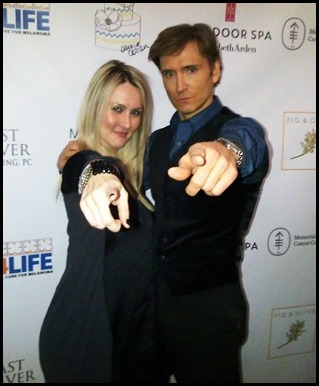Shannon and John point on the step and repeat