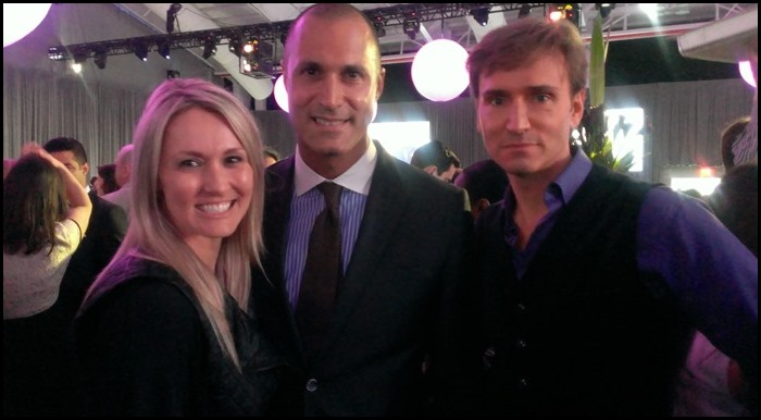 Nigel Barker poses with John and me at the NBC Upfronts