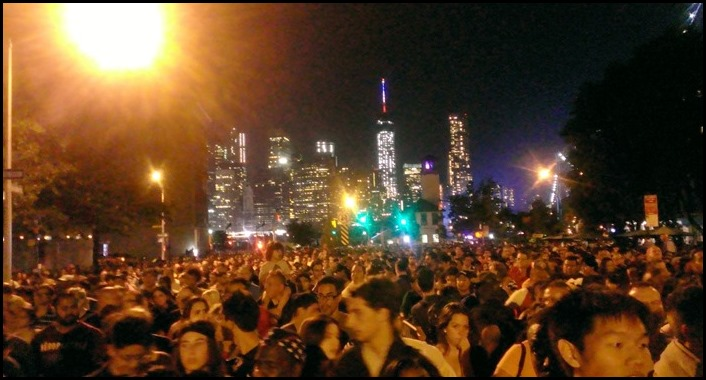 The crowd at the NYC fireworks